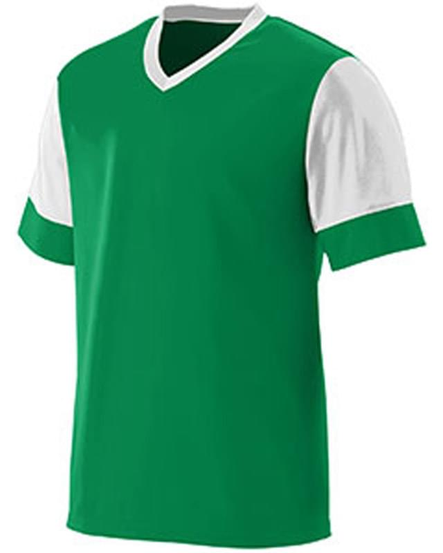Adult Wicking Polyester V-Neck Jersey with Contrast Sleeves