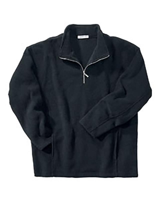 MEN'S SOLID POLYESTER FLEECE HALF-ZIP