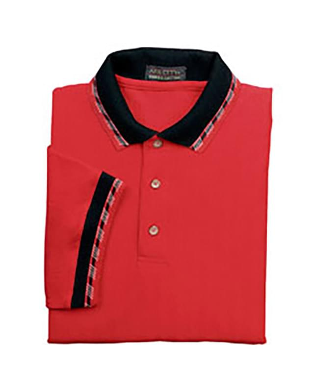 Men's Herringbone Pique Polo With Jacquard Trim