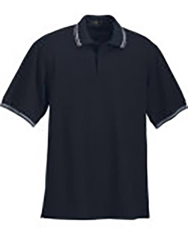 MEN'S COTTON STRIPE COLLAR PIQUE POLO