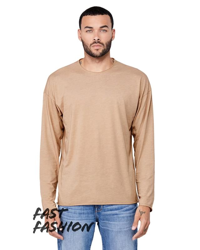 FWD Fashion Unisex Triblend Raw Neck Long-Sleeve T-Shirt