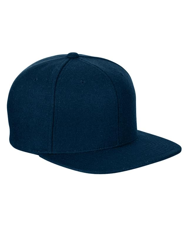 Adult 6-Panel Melton Wool Structured Flat Visor Classic Snapback Cap