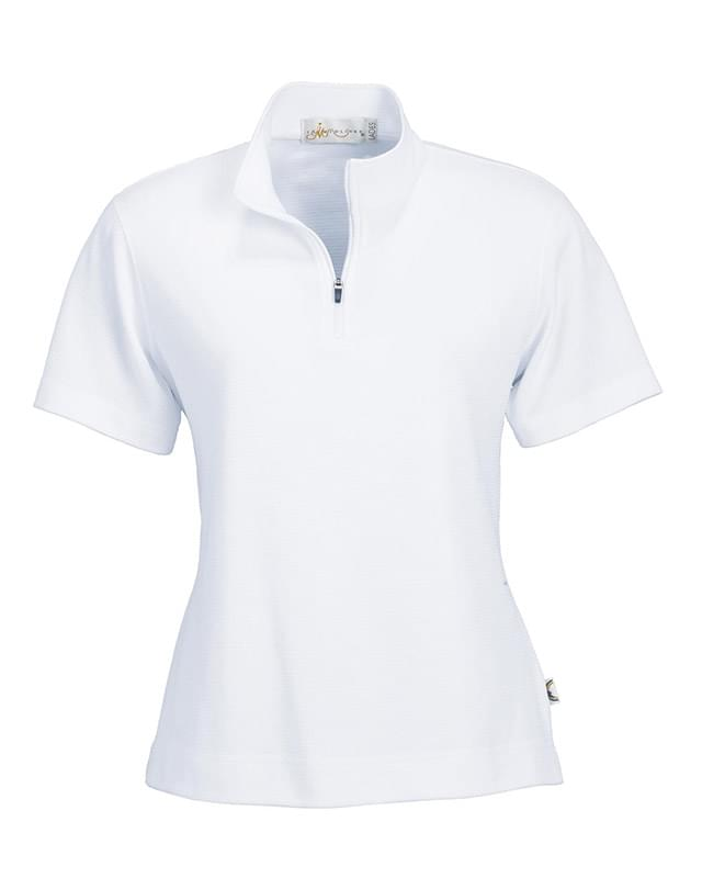 Ladies' Cross Ridge Jacquard Short Sleeve Half-Zip Mock