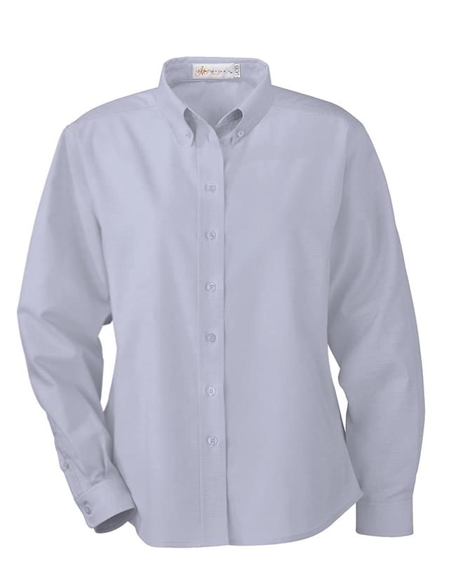 Ladies' Wrinkle Resistant Long Sleeve Button-Down Oxford Shirt