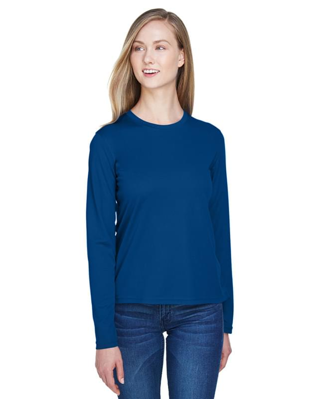 Ladies' Agility Performance Long-Sleeve Piqu? Crewneck