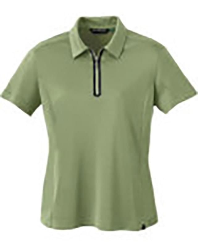 LADIES' RECYCLED POLYESTER/PERFORMANCE POLYESTER ZIPPED POLO