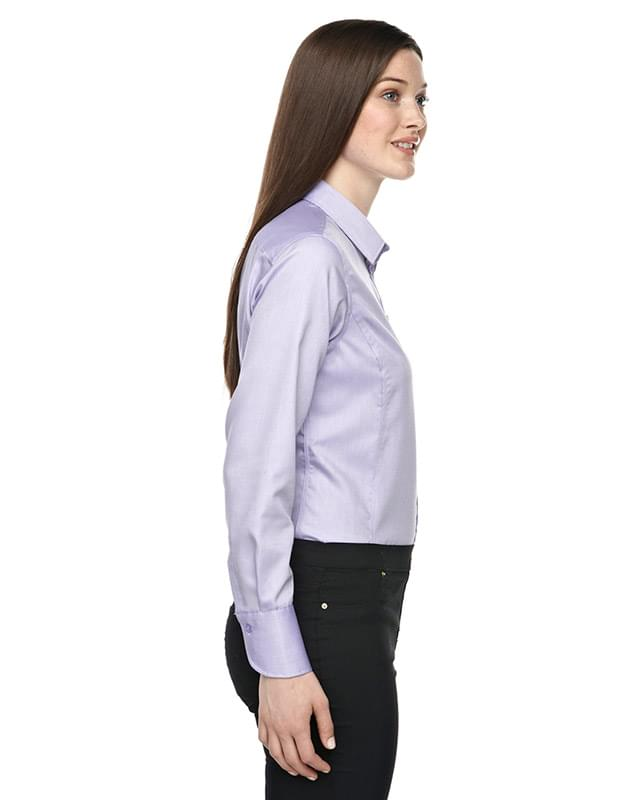 Ladies' Boulevard Wrinkle-Free Two-Ply 80's Cotton Dobby Taped Shirt with Oxford Twill