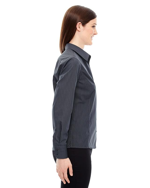 Ladies' Boardwalk Wrinkle-Free Two-Ply 80's Cotton Striped Tape Shirt