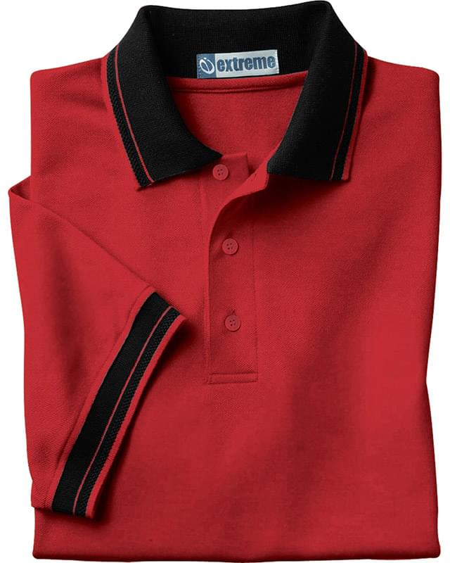 Men's Piqu Polo With Textured Stripe Trim