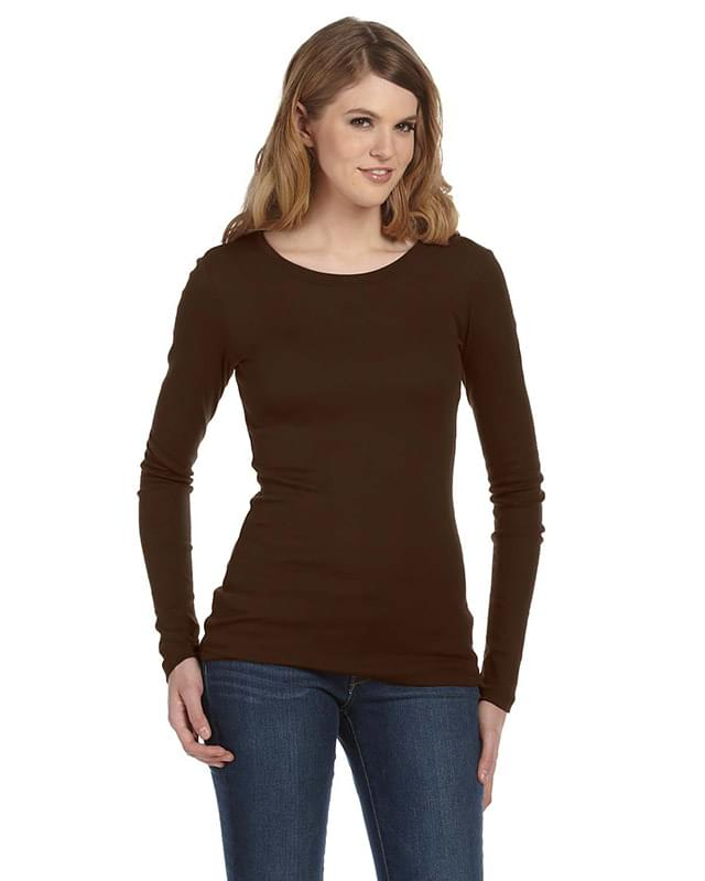 Ladies' Sheer Mini Rib Long-Sleeve T-Shirt