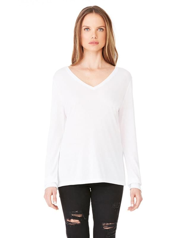 Ladies' Flowy Long-Sleeve V-Neck