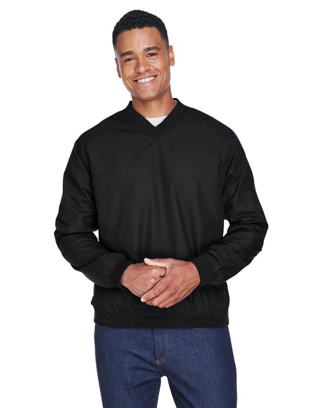 Adult Long-Sleeve Microfiber Crossover V-Neck Wind Shirt