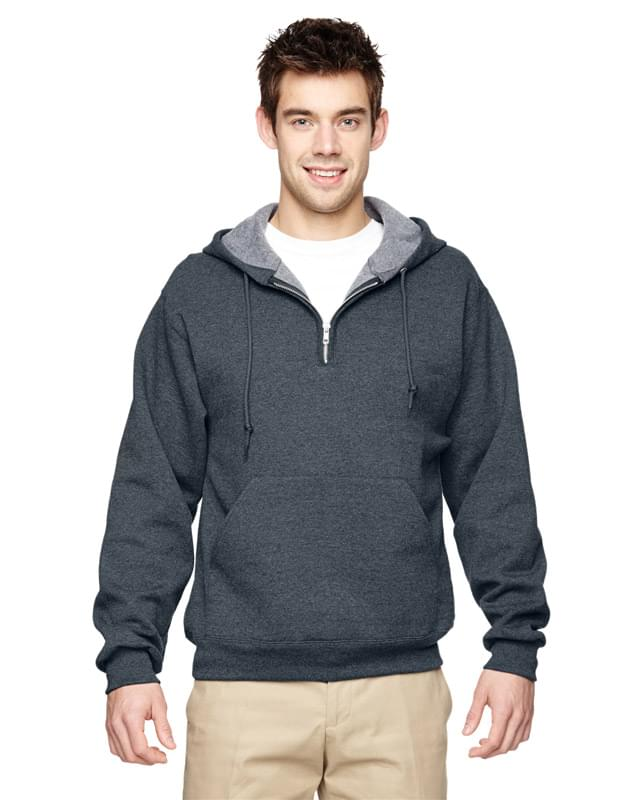 Adult NuBlend� Fleece Quarter-Zip Pullover Hooded Sweatshirt