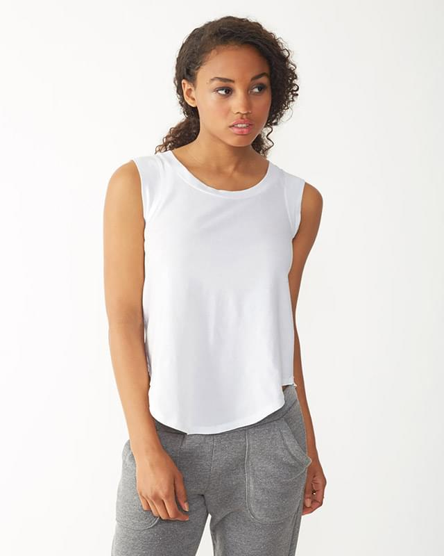 Ladies' Cap-Sleeve Satin Jersey Crew