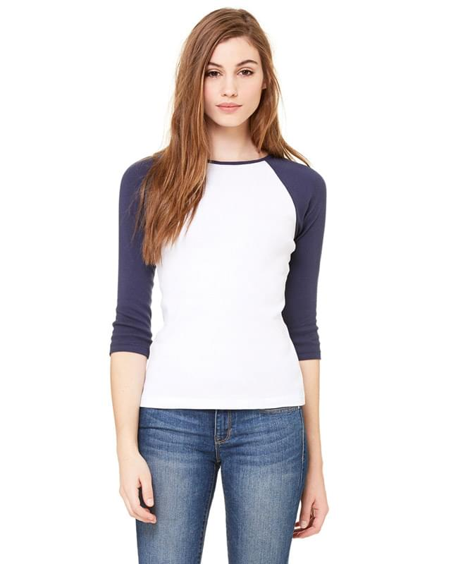 Ladies' Baby Rib 3/4-Sleeve Contrast Raglan T-Shirt