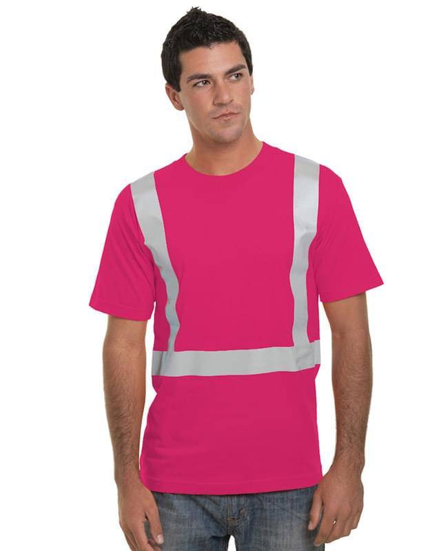 Hi-Visibility 100% Cotton Crew Solid Striping T-Shirt