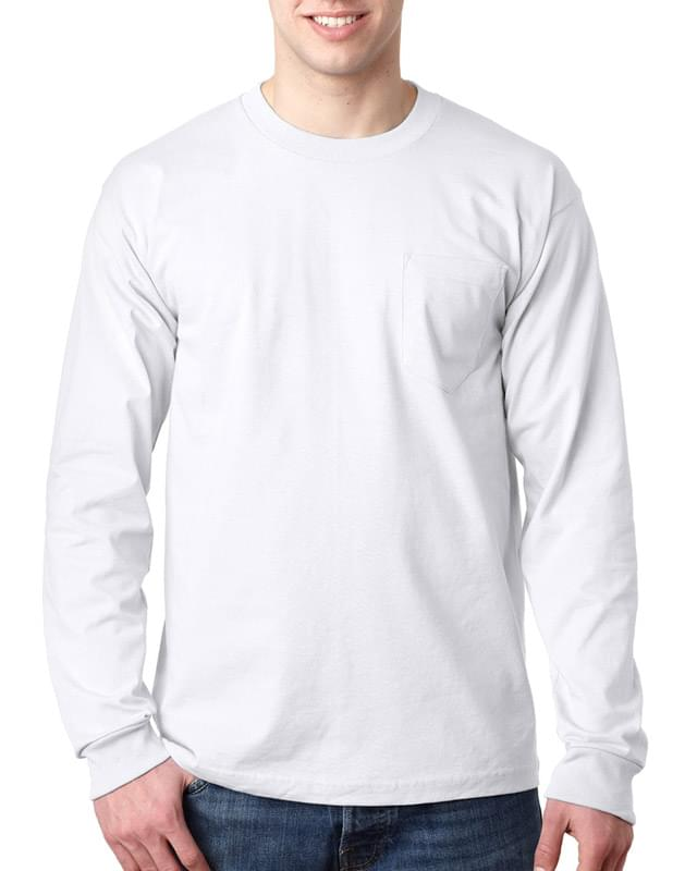 Adult 6.1 oz., 100% Cotton Long Sleeve Pocket T-Shirt