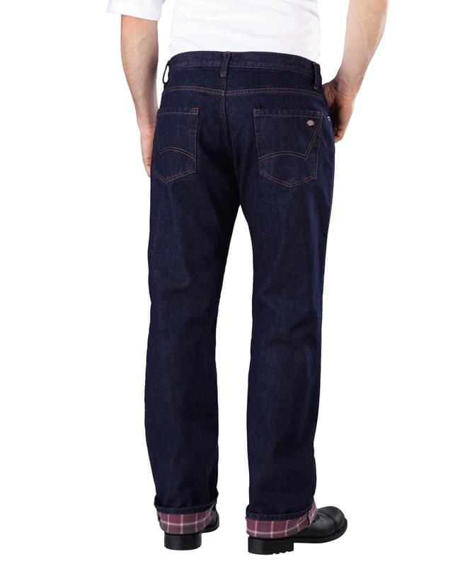 Men's Relaxed Straight-Fit Flannel-Lined Denim Jean Pant
