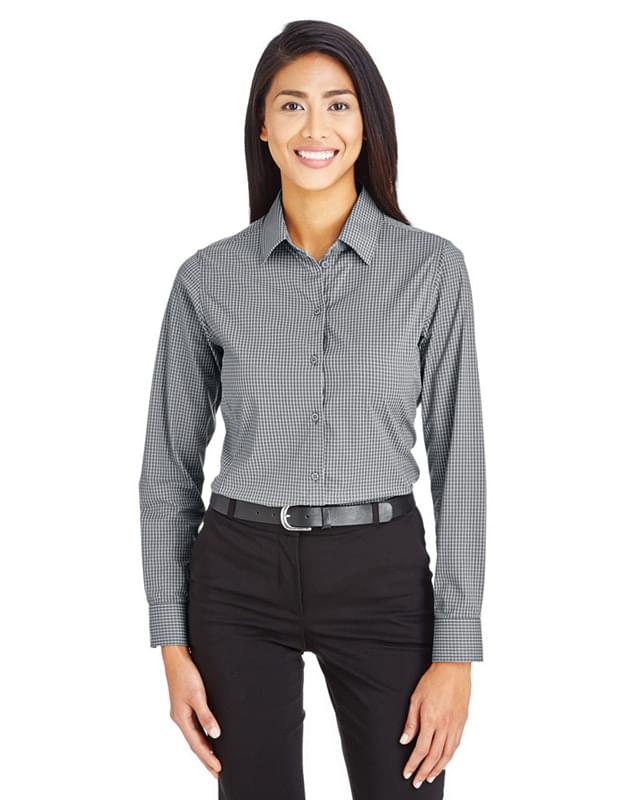 CrownLux Performance Ladies' Tonal Mini Check Shirt