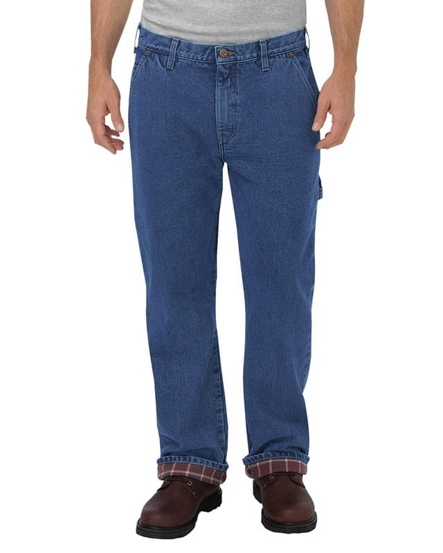 Men's Relaxed Fit Straight-Leg Flannel-Lined Carpenter Denim Pant