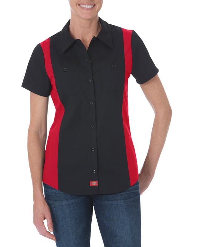 Ladies' Industrial Short-Sleeve Color Block Shirt