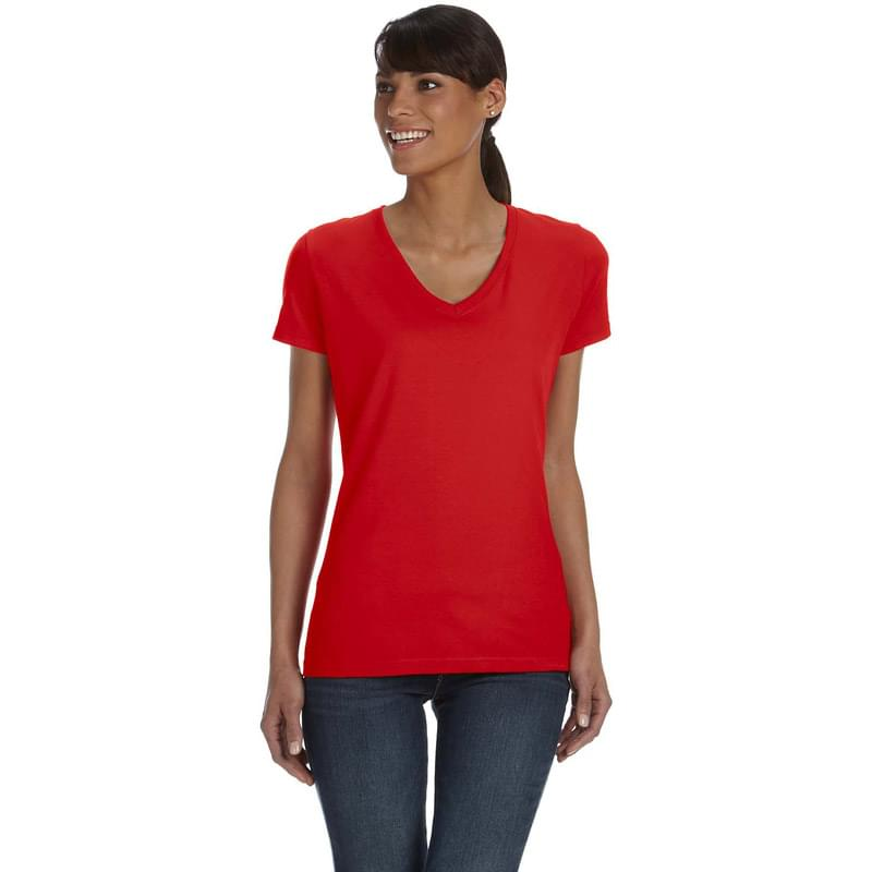 Ladies' 5 oz. HD Cotton V-Neck T-Shirt