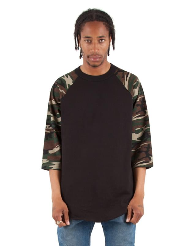 Adult 6 oz., 3/4-Sleeve Camo Raglan T-Shirt