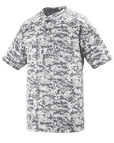 Youth Polyester Digi Print Two-Button Short-Sleeve Jersey
