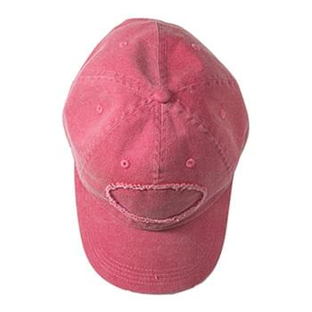 Pigment-Dyed Raw-Edge Patch Baseball Cap