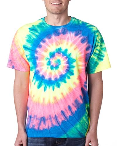 Adult Neon Spiral Rainbow Pigment-Dyed Tee