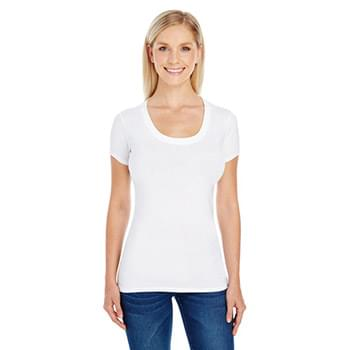 Ladies' Spandex Short-Sleeve Scoop Neck T-Shirt