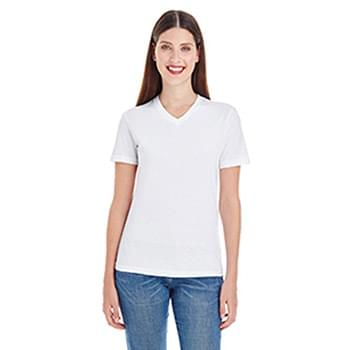 Ladies' Fine Jersey Short-Sleeve V-Neck