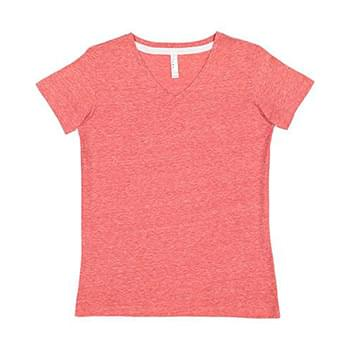 Ladies' V-Neck Harborside Melange Jersey T-Shirt