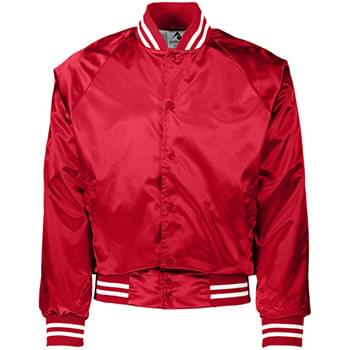 Unisex Striped Trim Satin Baseball Jacket