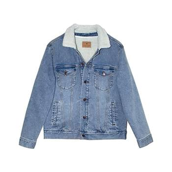 Unisex Sherpa-Lined Denim Jacket