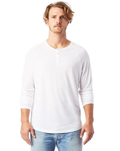 Adult Organic Raglan Long Sleeve Henley T-Shirt