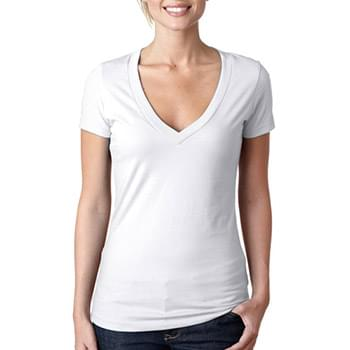 Ladies' CVC Deep V-Neck T-Shirt