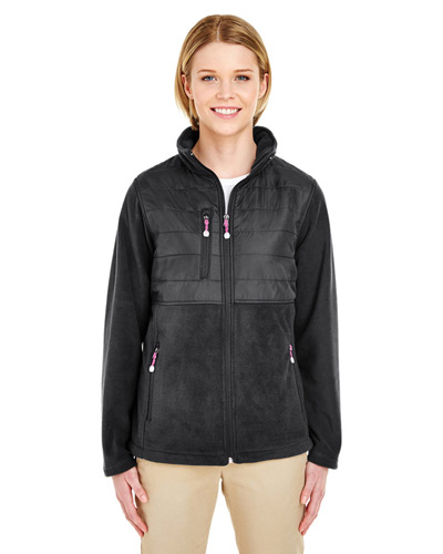 Ladies' Fleece Jacket with Quilted Yoke Overlay