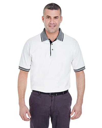 Adult White-Body Classic Piqu Polo with Contrast Multi-Stripe Trim
