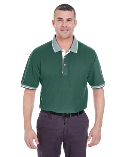 Adult Color-Body Classic Piqu Polo with Contrast Multi-Stripe Trim