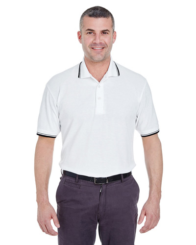 Men's Short-Sleeve Whisper PiquPolo with Tipped Collar and Cuffs