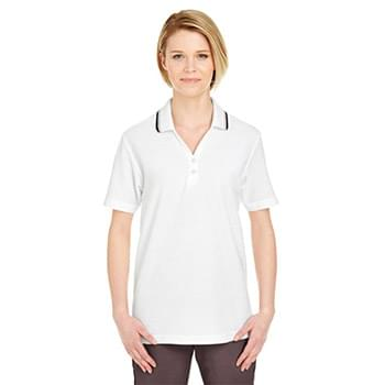 Ladies' Short-Sleeve Whisper Piqu?Polo with Tipped Collar