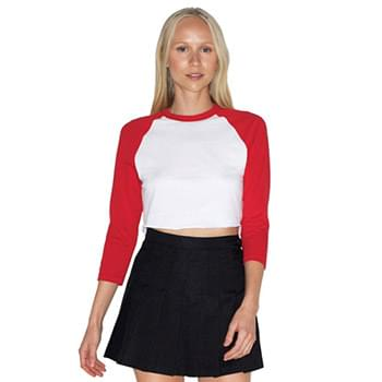 Ladies' Poly-Cotton 3/4-Sleeve Cropped T-Shirt