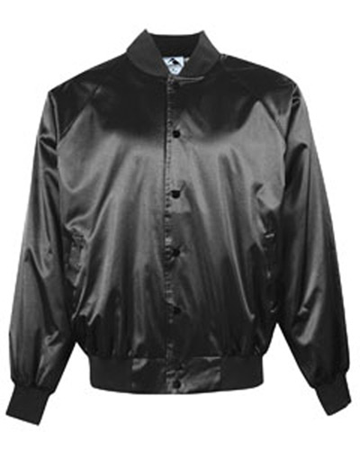 Adult Satin Baseball Jacket with Solid Trim