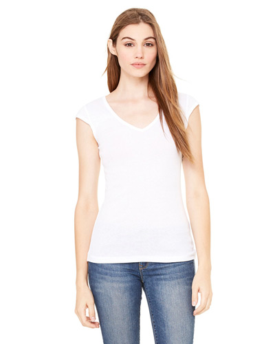 Ladies' Sheer Mini Rib Cap-Sleeve Deep V-Neck T-Shirt