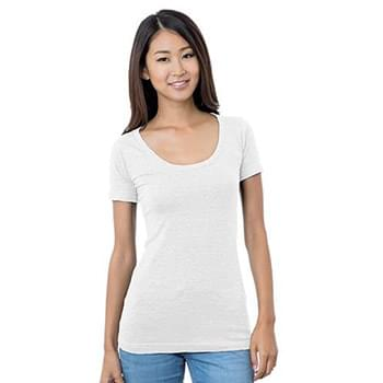 Junior's 4.2 oz., Fine Jersey Wide Scoop Neck T-Shirt