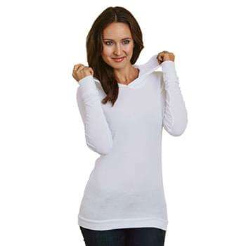 5 oz., Junior's Long-Sleeve Thermal Hoodie T-Shirt