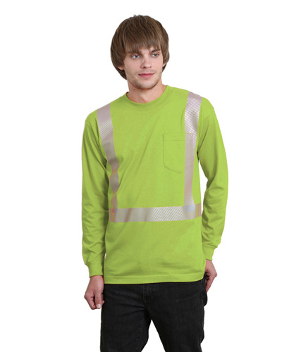 5.4 oz., 50/50 Hi-Visibility Segmanted Striping Long-Sleeve Pocket T-Shirt