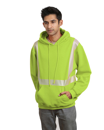 9.5 oz., 80/20 Hi-Visibility Segmented Striping Pullover Hooded Sweatshirt