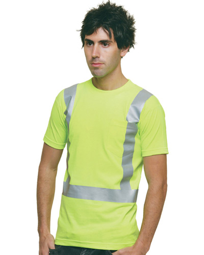 6.1 oz., 100% Cotton Hi-Visibility Solid Striping Pocket T-Shirt